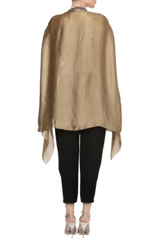 Dramatic sleeves V-neck cape top