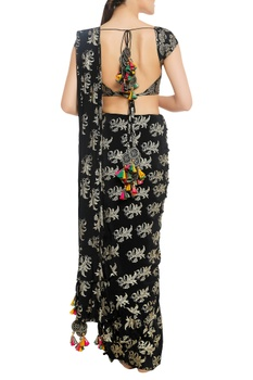 Stamp print sari with unstitched blouse