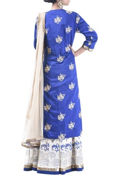 Embroidered block printed lehenga set with net dupatta