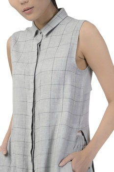 Checkered kurta with pockets