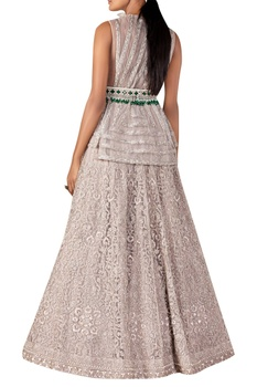 Embroidered gown with jewelled belt