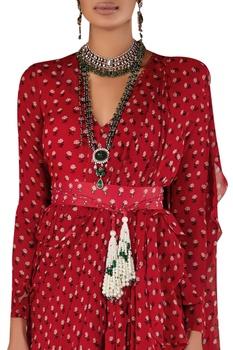 Printed ruffle sari with peplum blouse & waistbelt