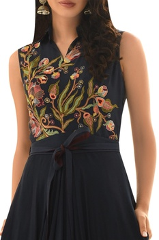 Draped embroidered tunic