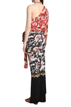 Printed fringed trousers
