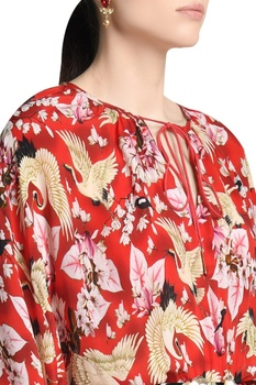 Printed blouse with flared sleeves