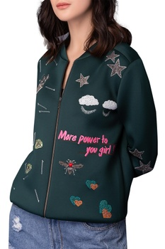 Embroidered zippered bomber jacket