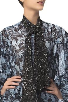 Puff Sleeves Printed Shirt & Scarf