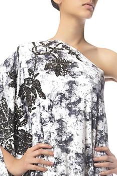 Sequin embroidered one shoulder dress