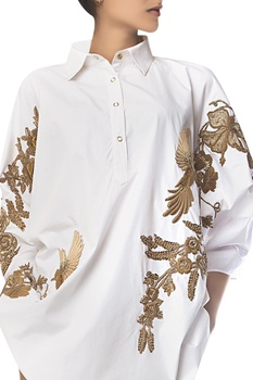 Sequin Embroidered Oversized Shirt