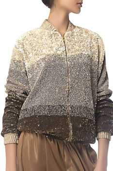 3D sequin embroidered bomber jacket
