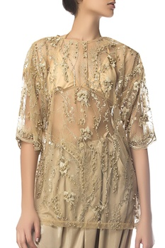 Crystal & pearl embroidered tunic