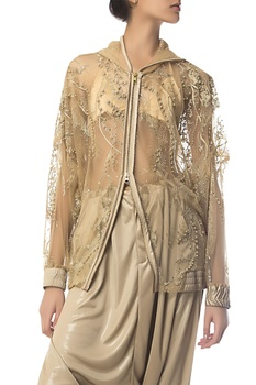 Thread & pearl embroidered jacket