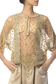 Thread & pearl embroidered top