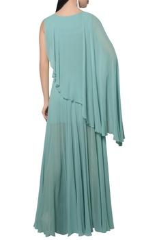 Draped one shoulder sleeve dress