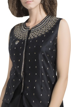 Tribal art embroidered asymmetric jacket blouse