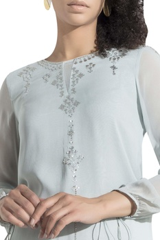 Embroidered tie up sleeve blouse