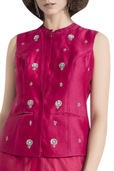 Floral Embroidered Waist Coat blouse