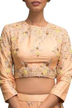 Embellished blouse with lehenga