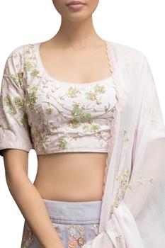 Embellished blouse with feather detail lehenga & dupatta