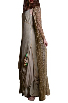 Hand embroidered long jacket