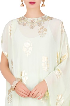 Foil print kaftan tunic with cowl skirt