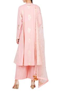 Mukesh embroidered kalidar kurta with pleated pant & dupatta