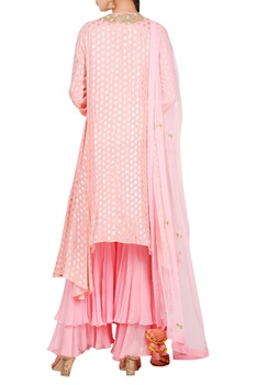 Lotus foil print asymmetric kurta with sharara & dupatta