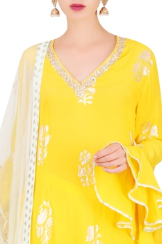 Foil print straight kurta with pants & dupatta