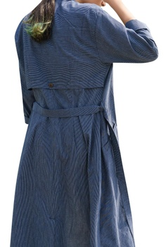 Stripes Long Jacket With Belt