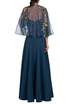 Hand embroidered cape with long dress