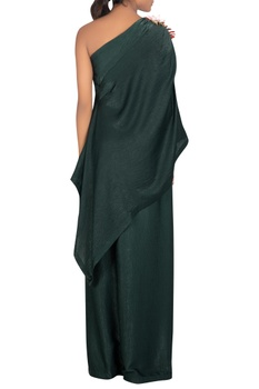 One shoulder cape style dress