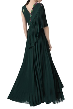 Gown with Pleated Drape