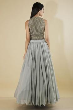Grey flared skirt with bodysuit