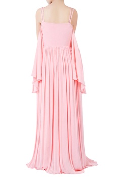 Pastel pink hand crafted bugle bead embroidered gown