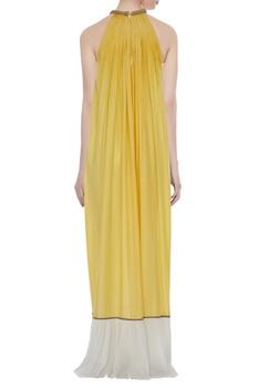 Yellow & white corded pleated halter silk maxi dress