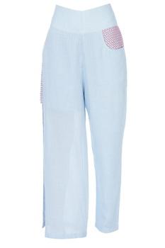 Sky blue high slit trousers