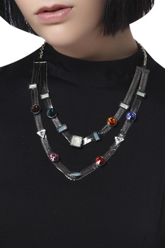 Bejeweled double layered necklace