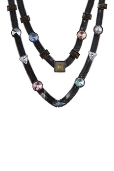 Multi studded double layer necklace