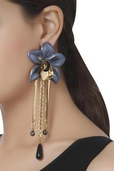 Long dangling orchid earrings