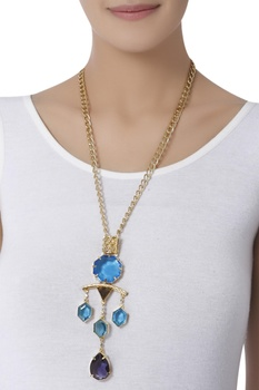 Crystal studded long necklace