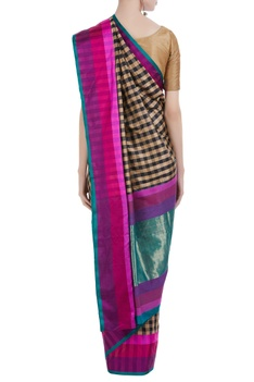 Banarasi silk check saree & unstitched blouse
