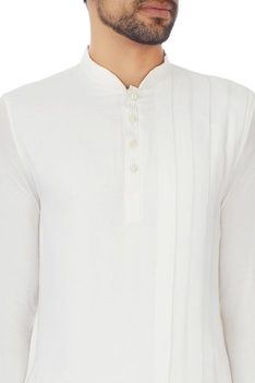 White rayon draped style kurta with churidar