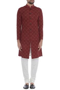 Red handloom silk kantha chequered achkan