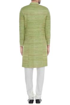 Mint green solid handloom silk achkan with printed lining