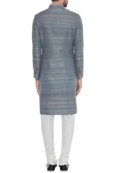 Grey solid handloom silk achkan with printed lining