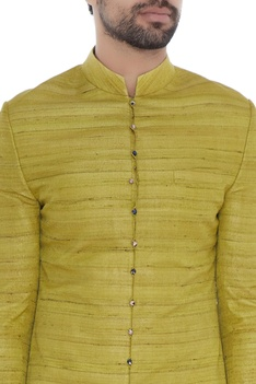 Lime green solid handloom silk achkan with printed lining