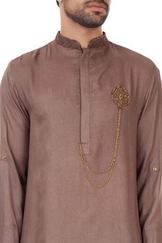 Brown organic hand-zardozi embroidered milk fiber kurta