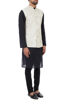 Off-white hand bead embroidered organic silk nehru jacket