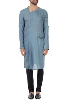 Sky blue naturally dyed wrap style milk fiber kurta