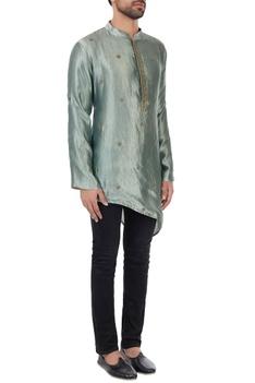 Metallic green asymmetric organic silk kurta